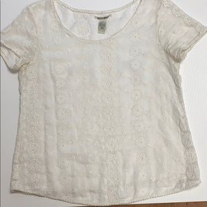 Lucky Brand Mesh Embroidered White Floral Top
